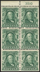 Sale Number 1156, Lot Number 3459, 1902-08 Issues (Scott 300-320)1c Blue Green, Booklet Pane of Six (300b), 1c Blue Green, Booklet Pane of Six (300b)