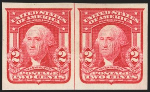 Sale Number 1156, Lot Number 3478, 1902-08 Issues (Scott 300-320)1c Blue Green, 2c Carmine, Ty. I, Imperforate (314, 320), 1c Blue Green, 2c Carmine, Ty. I, Imperforate (314, 320)