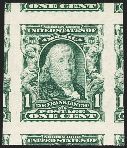Sale Number 1156, Lot Number 3479, 1902-08 Issues (Scott 300-320)1c Blue Green, Imperforate (314), 1c Blue Green, Imperforate (314)