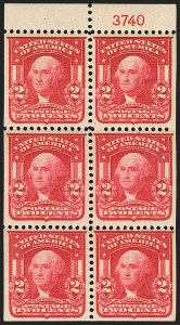 Sale Number 1156, Lot Number 3486, 1902-08 Issues (Scott 300-320)2c Carmine, Ty. I, Booklet Pane of Six (319g), 2c Carmine, Ty. I, Booklet Pane of Six (319g)
