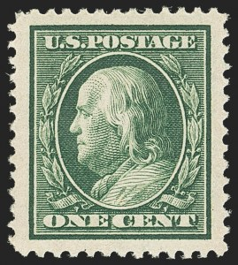 Sale Number 1156, Lot Number 3496, 1908-10 Washington-Franklin Issues (Scott 331-356)1c Green (331), 1c Green (331)