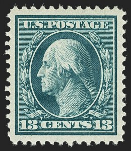 Sale Number 1156, Lot Number 3505, 1908-10 Washington-Franklin Issues (Scott 331-356)13c Blue Green (339), 13c Blue Green (339)