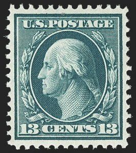 Sale Number 1156, Lot Number 3506, 1908-10 Washington-Franklin Issues (Scott 331-356)13c Blue Green (339), 13c Blue Green (339)