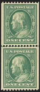 Sale Number 1156, Lot Number 3515, 1908-10 Washington-Franklin Issues (Scott 331-356)1c Green, Coil (348), 1c Green, Coil (348)