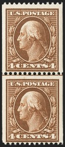 Sale Number 1156, Lot Number 3517, 1908-10 Washington-Franklin Issues (Scott 331-356)4c Orange Brown, Coil (350), 4c Orange Brown, Coil (350)