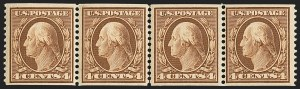 Sale Number 1156, Lot Number 3520, 1908-10 Washington-Franklin Issues (Scott 331-356)4c Orange Brown, Coil (354), 4c Orange Brown, Coil (354)