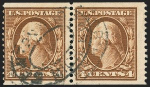 Sale Number 1156, Lot Number 3521, 1908-10 Washington-Franklin Issues (Scott 331-356)4c Orange Brown, Coil (354), 4c Orange Brown, Coil (354)