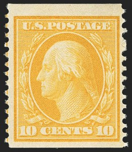 Sale Number 1156, Lot Number 3523, 1908-10 Washington-Franklin Issues (Scott 331-356)10c Yellow, Coil (356), 10c Yellow, Coil (356)