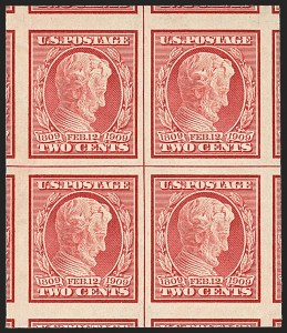 Sale Number 1156, Lot Number 3535, 1909 Commemorative Issues (Scott 367-373)2c Lincoln, Imperforate (368), 2c Lincoln, Imperforate (368)
