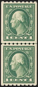 Sale Number 1156, Lot Number 3572, 1912-14 Washington-Franklin Issues (Scott 405-423)1c Green, Coil (410), 1c Green, Coil (410)