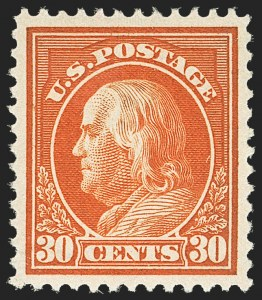 Sale Number 1156, Lot Number 3586, 1912-14 Washington-Franklin Issues (Scott 405-423)30c Orange Red (420), 30c Orange Red (420)