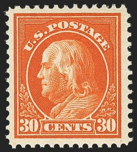 Sale Number 1156, Lot Number 3587, 1912-14 Washington-Franklin Issues (Scott 405-423)30c Orange Red (420), 30c Orange Red (420)