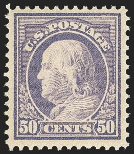 Sale Number 1156, Lot Number 3591, 1912-14 Washington-Franklin Issues (Scott 405-423)50c Violet (422), 50c Violet (422)