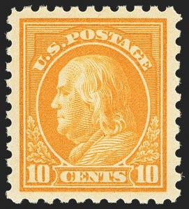 Sale Number 1156, Lot Number 3608, 1913-15 Washington-Franklin Issues (Scott 424-440)10c Orange Yellow (433), 10c Orange Yellow (433)