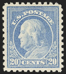 Sale Number 1156, Lot Number 3615, 1913-15 Washington-Franklin Issues (Scott 424-440)20c Ultramarine (438), 20c Ultramarine (438)