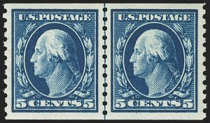 Sale Number 1156, Lot Number 3634, 1913-15 Washington-Franklin Issues, cont. (Scott 441-461)5c Blue, Coil (447), 5c Blue, Coil (447)