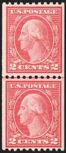 Sale Number 1156, Lot Number 3637, 1913-15 Washington-Franklin Issues, cont. (Scott 441-461)2c Carmine, Ty. III, Coil (450), 2c Carmine, Ty. III, Coil (450)