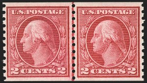 Sale Number 1156, Lot Number 3638, 1913-15 Washington-Franklin Issues, cont. (Scott 441-461)2c Carmine Rose, Ty. I, Coil (453), 2c Carmine Rose, Ty. I, Coil (453)