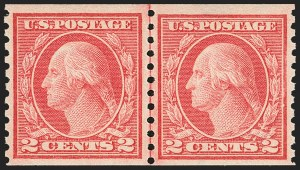 Sale Number 1156, Lot Number 3639, 1913-15 Washington-Franklin Issues, cont. (Scott 441-461)2c Red, Ty. II, Coil (454), 2c Red, Ty. II, Coil (454)