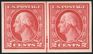 Sale Number 1156, Lot Number 3643, 1913-15 Washington-Franklin Issues, cont. (Scott 441-461)2c Carmine, Ty. I, Imperforate Coil (459), 2c Carmine, Ty. I, Imperforate Coil (459)