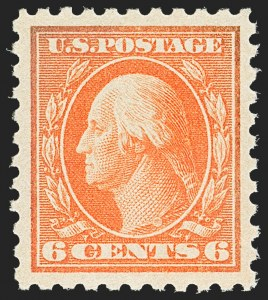 Sale Number 1156, Lot Number 3655, 1916-17 Washington-Franklin Issues (Scott 462-480)6c Red Orange (468), 6c Red Orange (468)
