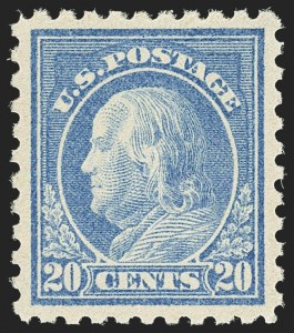 Sale Number 1156, Lot Number 3667, 1916-17 Washington-Franklin Issues (Scott 462-480)20c Light Ultramarine (476), 20c Light Ultramarine (476)