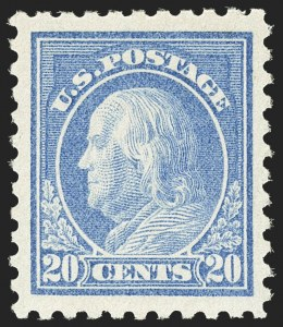 Sale Number 1156, Lot Number 3668, 1916-17 Washington-Franklin Issues (Scott 462-480)20c Light Ultramarine (476), 20c Light Ultramarine (476)