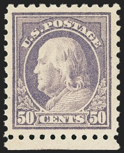 Sale Number 1156, Lot Number 3670, 1916-17 Washington-Franklin Issues (Scott 462-480)50c Light Violet (477), 50c Light Violet (477)
