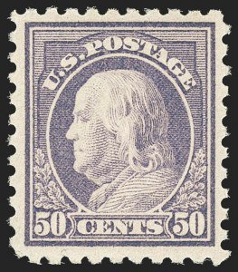 Sale Number 1156, Lot Number 3671, 1916-17 Washington-Franklin Issues (Scott 462-480)50c Light Violet (477), 50c Light Violet (477)