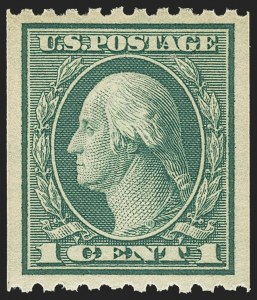 Sale Number 1156, Lot Number 3678, 1917-19 Washington-Franklin Issues (Scott 481-497)1c Green, Coil (486), 1c Green, Coil (486)
