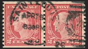 Sale Number 1156, Lot Number 3684, 1917-19 Washington-Franklin Issues (Scott 481-497)2c Carmine, Ty. II, Coil (491), 2c Carmine, Ty. II, Coil (491)