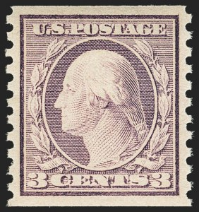 Sale Number 1156, Lot Number 3689, 1917-19 Washington-Franklin Issues (Scott 481-497)3c Violet, Ty. I, Coil (493), 3c Violet, Ty. I, Coil (493)