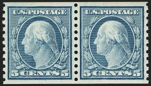 Sale Number 1156, Lot Number 3694, 1917-19 Washington-Franklin Issues (Scott 481-497)5c Blue, Coil (496), 5c Blue, Coil (496)