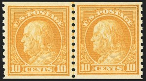Sale Number 1156, Lot Number 3696, 1917-19 Washington-Franklin Issues (Scott 481-497)10c Orange Yellow, Coil (497), 10c Orange Yellow, Coil (497)
