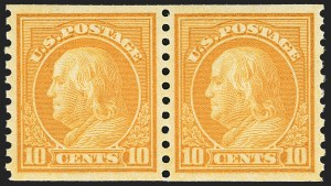 Sale Number 1156, Lot Number 3698, 1917-19 Washington-Franklin Issues (Scott 481-497)10c Orange Yellow, Coil (497), 10c Orange Yellow, Coil (497)