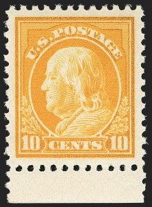 Sale Number 1156, Lot Number 3718, 1917-19 Washington-Franklin Issues, cont. (Scott 498-524)10c Orange Yellow (510), 10c Orange Yellow (510)