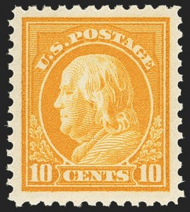 Sale Number 1156, Lot Number 3719, 1917-19 Washington-Franklin Issues, cont. (Scott 498-524)10c Orange Yellow (510), 10c Orange Yellow (510)