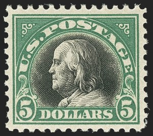 Sale Number 1156, Lot Number 3737, 1917-19 Washington-Franklin Issues, cont. (Scott 498-524)$5.00 Deep Green & Black (524), $5.00 Deep Green & Black (524)