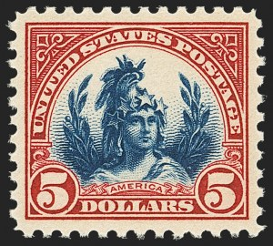 Sale Number 1156, Lot Number 3755, 1922 and Later (Scott 551-1867b)$5.00 Carmine & Blue (573), $5.00 Carmine & Blue (573)