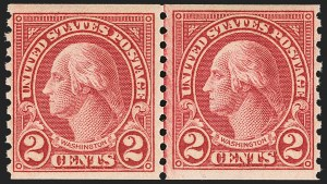 Sale Number 1156, Lot Number 3758, 1922 and Later (Scott 551-1867b)2c Carmine, Ty. II, Coil (599A), 2c Carmine, Ty. II, Coil (599A)