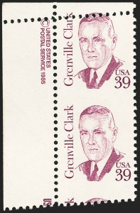 Sale Number 1156, Lot Number 3773, 1922 and Later (Scott 551-1867b)39c Greenville Clark, Vertical Pair, Imperforate Between (1867b), 39c Greenville Clark, Vertical Pair, Imperforate Between (1867b)
