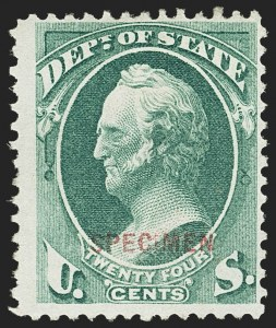 Sale Number 1156, Lot Number 3845, Officials24c State, Specimen Ovpt. (O65S), 24c State, Specimen Ovpt. (O65S)