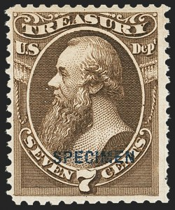 Sale Number 1156, Lot Number 3846, Officials7c Treasury, Specimen Ovpt. (O76S), 7c Treasury, Specimen Ovpt. (O76S)