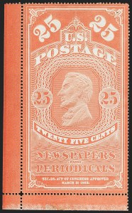 Sale Number 1156, Lot Number 3852, Newspapers and Periodicals, Parcel Post, Postal Stationery25c Orange Red, Colored Border, 1865 Issue (PR3), 25c Orange Red, Colored Border, 1865 Issue (PR3)