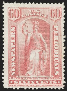 Sale Number 1156, Lot Number 3854, Newspapers and Periodicals, Parcel Post, Postal Stationery60c Pale Rose, 1875 Special Printing (PR44), 60c Pale Rose, 1875 Special Printing (PR44)