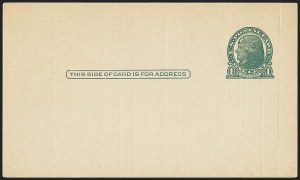 Sale Number 1156, Lot Number 3865, Newspapers and Periodicals, Parcel Post, Postal Stationery1c Green, Die I, Gray Rough-Surfaced Postal Card (UX27C; USPCC S38), 1c Green, Die I, Gray Rough-Surfaced Postal Card (UX27C; USPCC S38)
