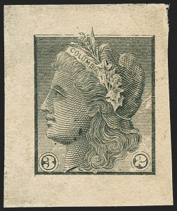 Sale Number 1158, Lot Number 4003, 1861-68 Issues Essays (Scott 73-E thru 79-E)American Bank Note Co., 3c and 2c Black, Columbia Portrait Die Essay on Thick Yellowish Wove (79-E11b), American Bank Note Co., 3c and 2c Black, Columbia Portrait Die Essay on Thick Yellowish Wove (79-E11b)