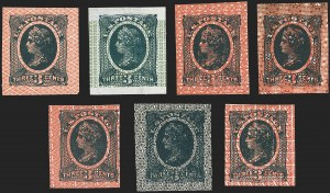 Sale Number 1158, Lot Number 4010, 1861-68 Issues Essays (Scott 73-E thru 79-E)National Bank Note Co., 3c Liberty, Black Green on White Wove, Safety Paper Essays (79-E31a, b, d, e, f, g, h), National Bank Note Co., 3c Liberty, Black Green on White Wove, Safety Paper Essays (79-E31a, b, d, e, f, g, h)