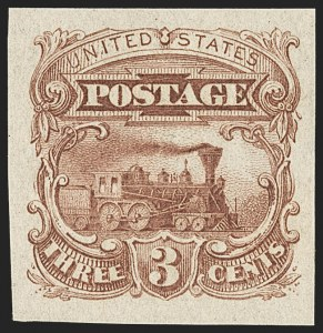 Sale Number 1158, Lot Number 4031, 1869 Issue, 3c Locomotive Essays (Scott 114-E)3c Small Numeral, Plate Essay on Stamp Paper, Imperforate (114-E6b), 3c Small Numeral, Plate Essay on Stamp Paper, Imperforate (114-E6b)
