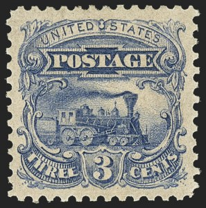 Sale Number 1158, Lot Number 4032, 1869 Issue, 3c Locomotive Essays (Scott 114-E)3c Dark Ultramarine, Small Numeral, Plate Essay on Stamp Paper, Perforated 12, Ungrilled (114-E6c), 3c Dark Ultramarine, Small Numeral, Plate Essay on Stamp Paper, Perforated 12, Ungrilled (114-E6c)